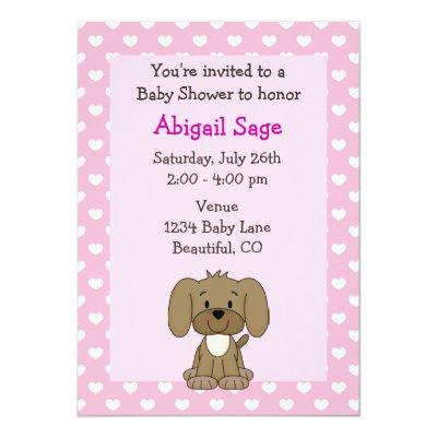 Cute Puppy Baby Girl Shower Invitations