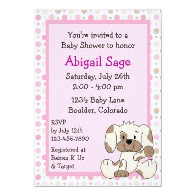 Cute Puppy Baby Girl Shower Invitation