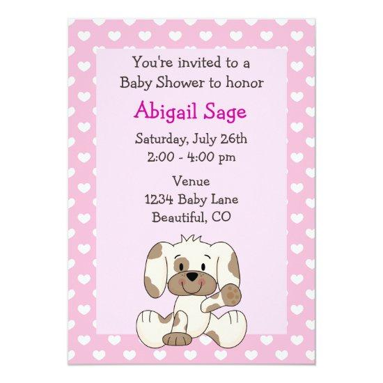 Cute puppy baby girl shower invitations baby shower invitations cute puppy baby girl shower invitations filmwisefo