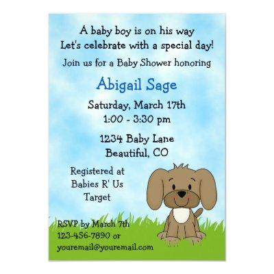 Cute Puppy Baby Shower Invitations for Boys