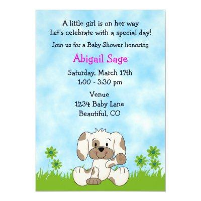 Cute Puppy Baby Shower Invitations for Girls