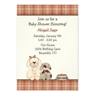 Cute Puppy Dog and Mom Boy's Baby Shower Invitation