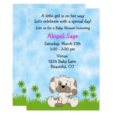Cute Puppy Dog Girl's Baby Shower Invitation
