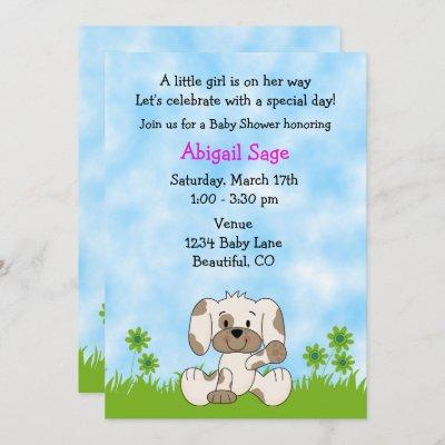 Cute Puppy Dog Girl's Baby Shower Invitation