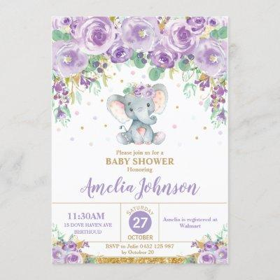 Cute Purple Floral Elephant Baby Shower Baby Girl Invitation