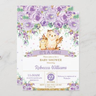 Cute Purple Floral Owl Baby Shower Baby Girl Invitation