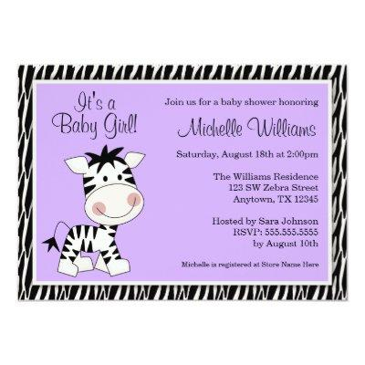 Cute Purple Zebra Girl Baby Shower Invitation