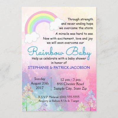 Cute Rainbow Custom Baby Shower RSVP Invitation