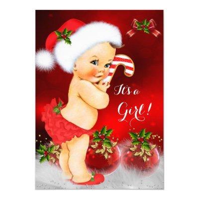 Cute Red White Christmas Girl Brunette Invitations
