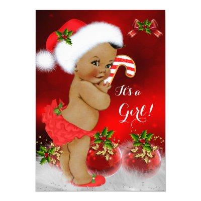 Cute Red White Christmas Girl Ethnic Invitations