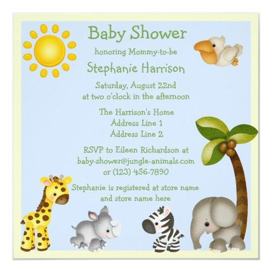 Cute Safari Animals Baby Shower Card Baby Shower Invitations