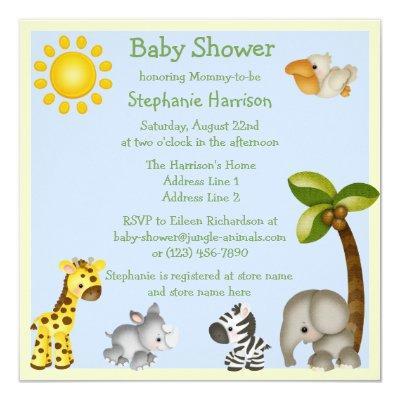 Cute Safari Animals Baby Shower Invitations