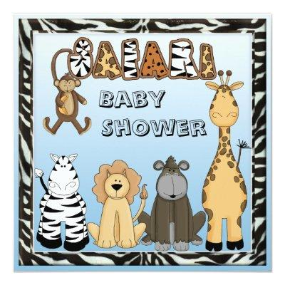 Cute Safari Animals Blue Baby Boy Shower Invitation