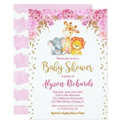 Cute safari animals girl baby shower invitation