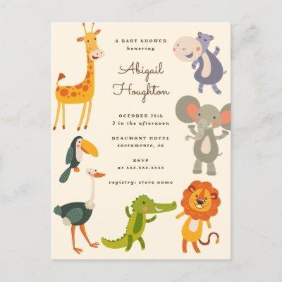 Cute Safari Jungle Animal Themed Baby Shower Invitation Postcard