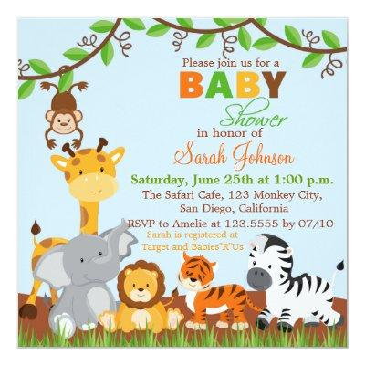 Cute Safari Jungle Animals Invitations