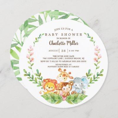 Cute Safari Jungle Animals Boys Baby Shower Invitation