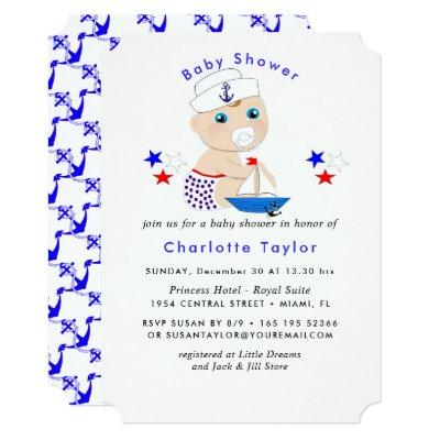 Cute Sailor Baby Nautical Baby Shower Invite