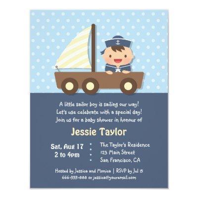 Cute Sailor Boy Nautical Baby Shower Invitations