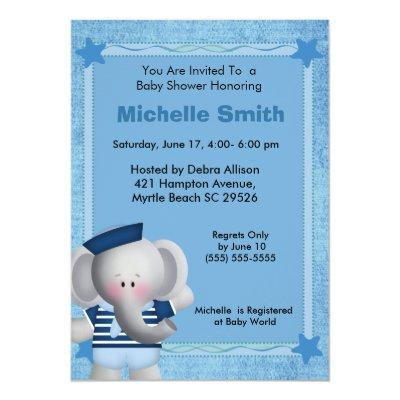 Cute Sailor Elephant Baby Shower Invitation