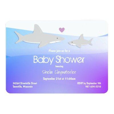 Cute Sharks Purple Ocean   Baby Shower Invitation