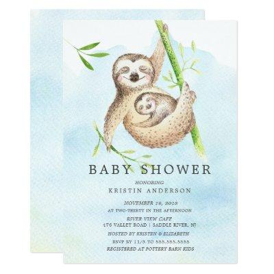 Cute Sloth Baby Shower Invitation