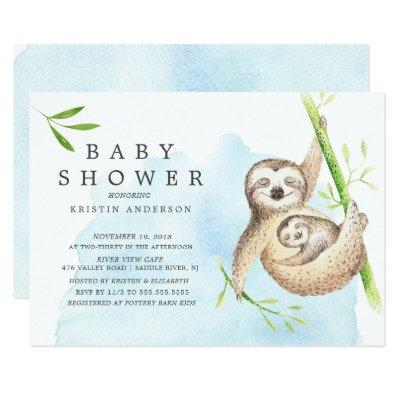 Cute Sloth Baby Shower Invitation