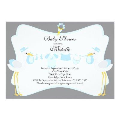 Cute Stork Boy Invitations
