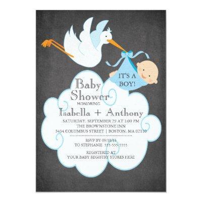 Cute Stork Chalkboard Boy Baby Shower Invitatation Invitations