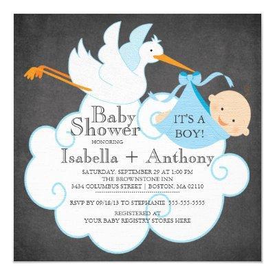 Cute Stork Chalkboard Boy Baby Shower Invitatation Invitation
