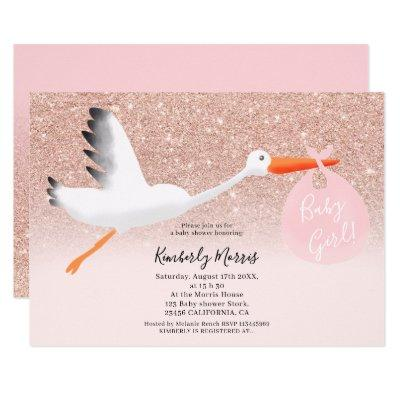 Cute stork glitter illustration baby girl shower invitation