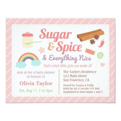 Cute Sugar and Spice Baby Girl Shower Invitations