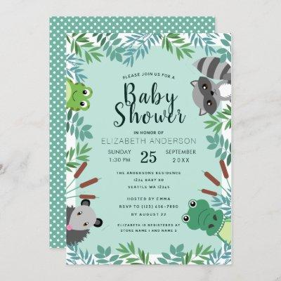 Cute Swamp Critters Baby Shower Invitation