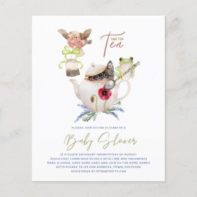 Cute Tea Party Invitations for Baby Shower Budget