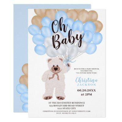 Cute teddy bear blue balloons boy baby shower invitation