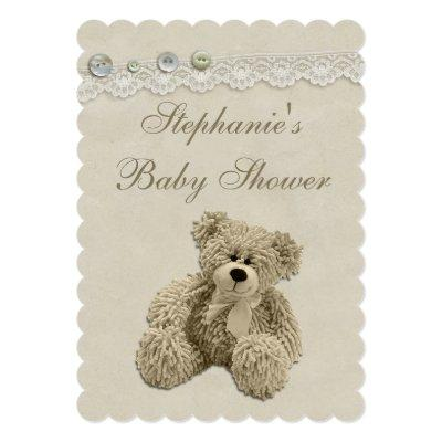 Cute Teddy Bear Vintage Lace