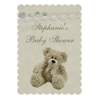 Cute Teddy Bear Vintage Lace Baby Shower Invitations