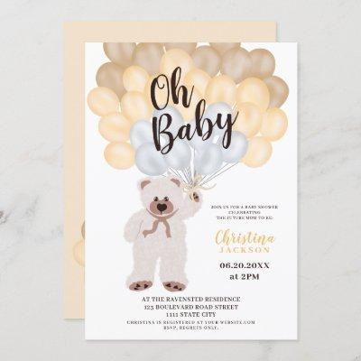 Cute teddy bear yellow balloon neutral baby shower invitation