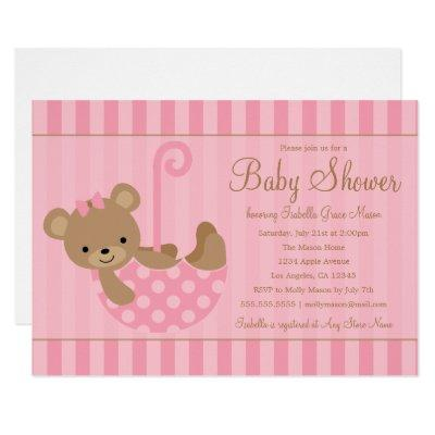 Cute Teddy | Pink Invitations