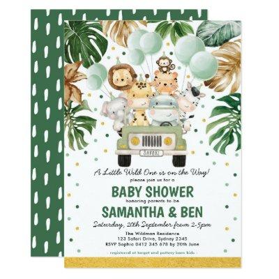 Cute Tropical Safari Jungle Animals Baby Shower Invitation