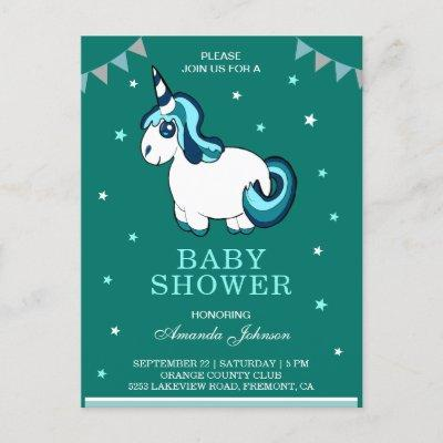 Cute Turquoise Unicorn Baby Shower Invitation Postcard