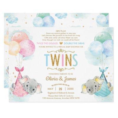 Cute Twins Boy Girl Elephant Baby Shower by Mail Invitation