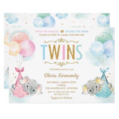 Cute Twins Boy Girl Elephant Baby Shower Sprinkle Invitation