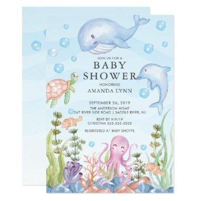 Cute Under the Sea Boy Baby Shower Invitations