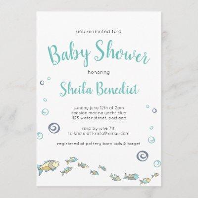 Cute Under The Sea Fish Baby Shower Invitation