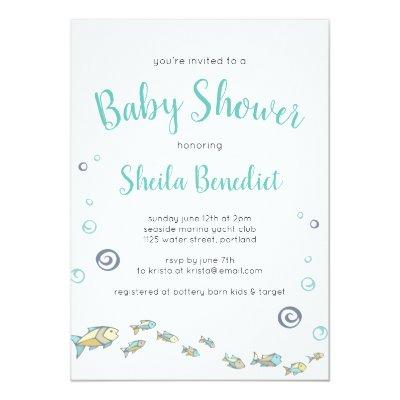 Cute Under The Sea Fish Baby Shower Invitations