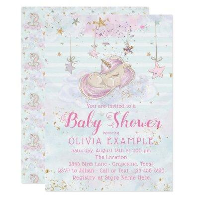 Cute Unicorn Baby Shower Invitations