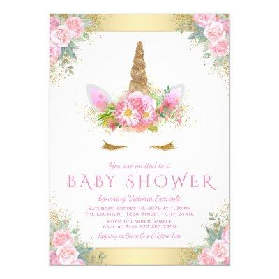 Cute Unicorn Face Pink Gold Baby Shower Invitations