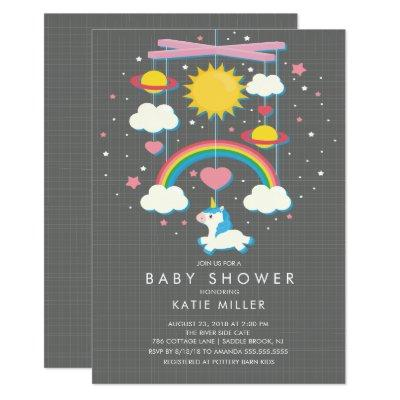 Cute Unicorn Mobile Baby Shower Invitations
