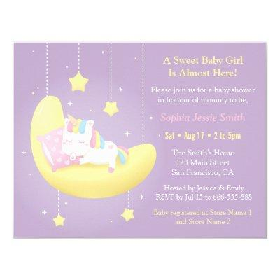 Cute Unicorn on Moon Baby Shower Invitations